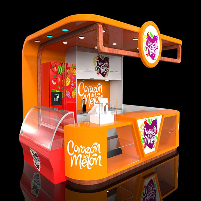 Shopping center fastfood kiosk ontwerp met retail winkel display stand uit China