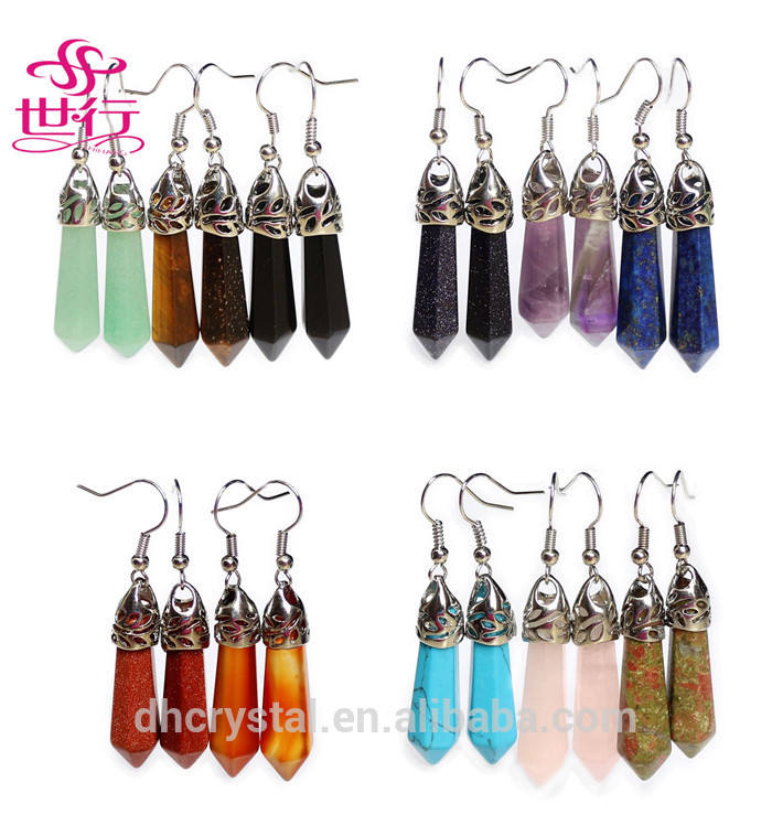 Beautiful Gemstone Earring Pink Quartz Crystal Point Earring for Wholesale