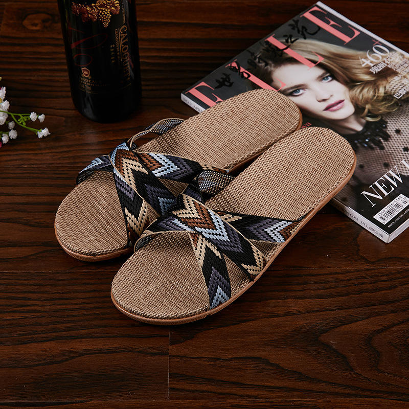 Crossing Summer linen slipper Fashion Hand-woven indoor slippers Sandals flax design