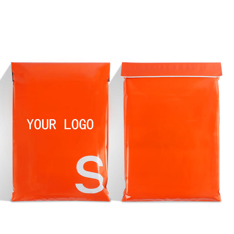 biodegradable poly mailer bags orange strong self adhesive mailing envelope shipping plastic packaging for garment