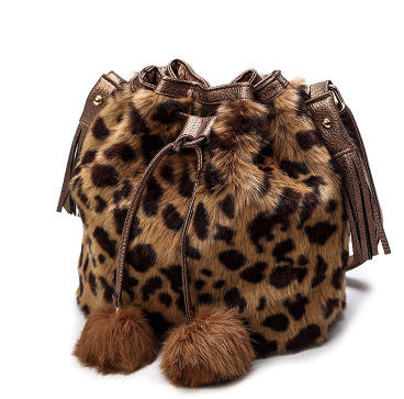 New Cute Simple Vintage Wool Fashion Leopard Lurred Slanting Shoulder Bucket Bag