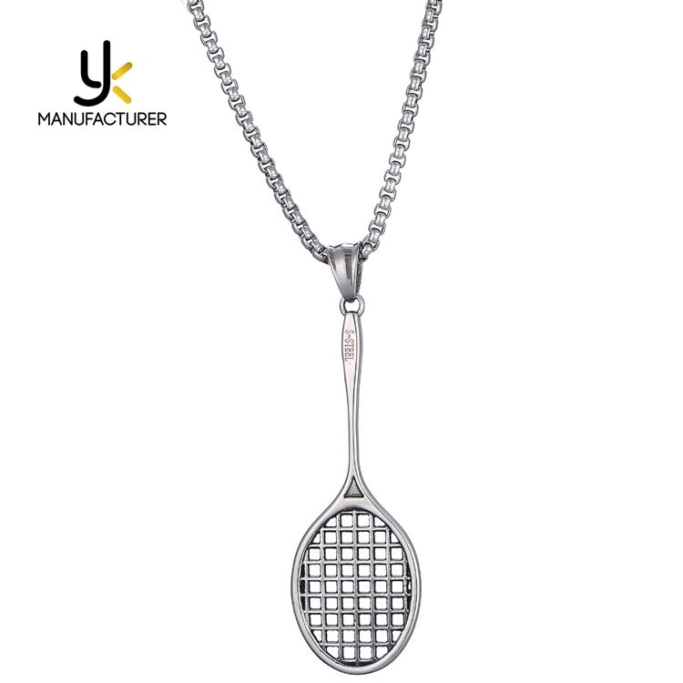 Sports Jewelry Unisex Silver Colors Students Stainless Steel Badminton Necklace