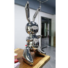 Polishing mirror jeff koons  304 Stainless steel rabbit sculpture  for Store decoration