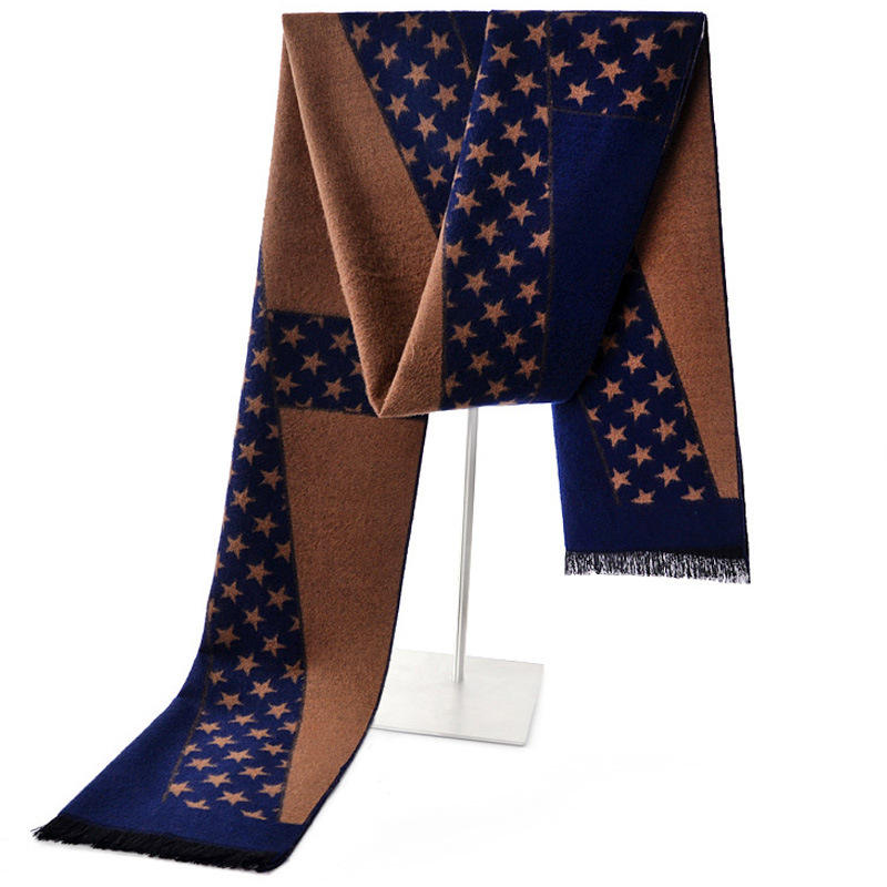 Cheap Cashmere Scarf Christmas Scarves Star Pattern Winter Knitting Scarf Men