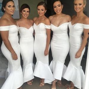5360#Ivory Mermaid Sweetheart Off Shoulder Floor Length Bodycon Ruffles Bridesmaid Wedding Dress High Quality