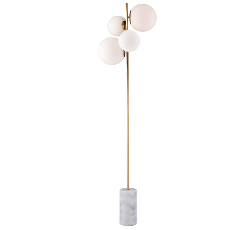 60176F Marble base 4 glass shade floor lamp,contemporary fluorescent floor standing lamp.