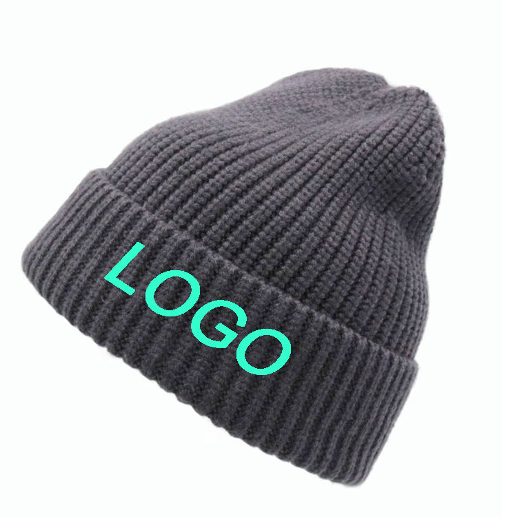 Custom patch embroidery label winter wool solid color beanie hat 1 size fit all