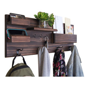 Wooden Wall Shelf With Cloth Hook Entryway Organizer Coat Hooks key Rack Mail Holder