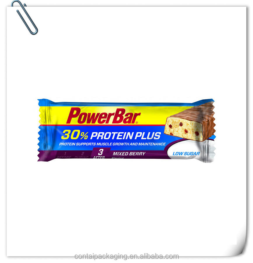 Factory direct sale laminated protein bar chocolate engergy bar package bag/plastic roll film for protein bar wrapper bag