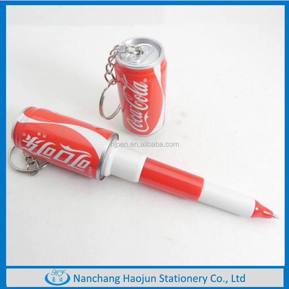 Multicolor يمكن البلاستيك القلم في <span class=keywords><strong>الدولية</strong></span> الشهيرة ماركة ، بالجملة البلاستيك بالبن مع مفتاح سلسلة