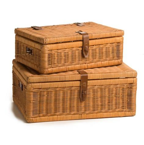 Cheap 3 pcs wicker Suitcase Hamper with leather handle