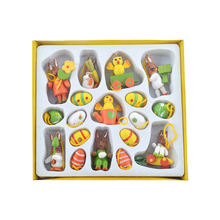 Easter decoration wooden mini egg rabbit hanging easter wooden mini toy