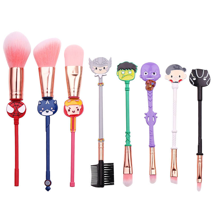 8pcs The Avengers Makeup brush Avenger Marvel Peripheral beauty tool Thanos Spider man cosmetic tools set.