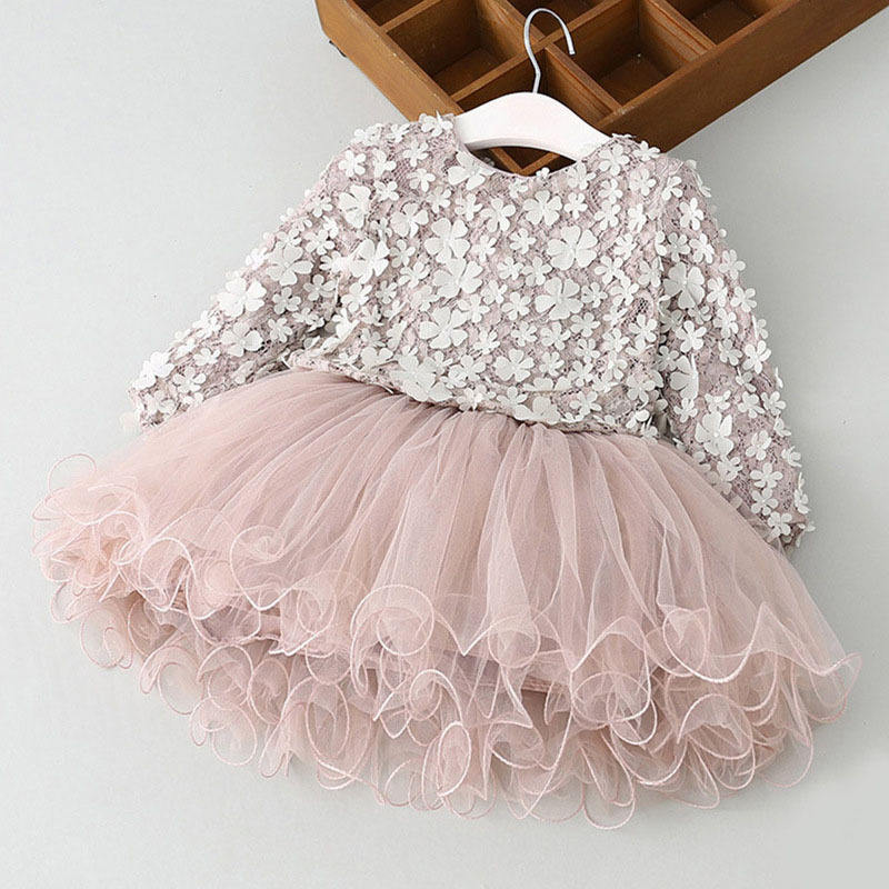 Petals Designs Girl Dress Children Party Costume Kids Formal Events Vestidos Tutu Flower Dress Fluffy Wedding Gown Girls Dresses