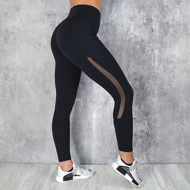 Newest Breathable Custom Women High Elastic Yoga Pants Tights Quick Dry Sports Solid Color Leggings with Pocket