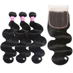 Ms Mary Body Wave Virgin Brazilian Hair 3 Bundles With 1Pc Lace Closure 4*4 Grade 8A Remy Human Hair Natural Color Free Shipping