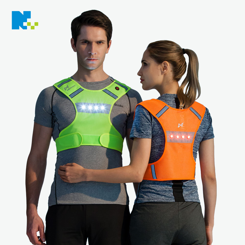Fluorescent Mesh Cycling Safety LED Flashing Lighted Reflective Running Vest