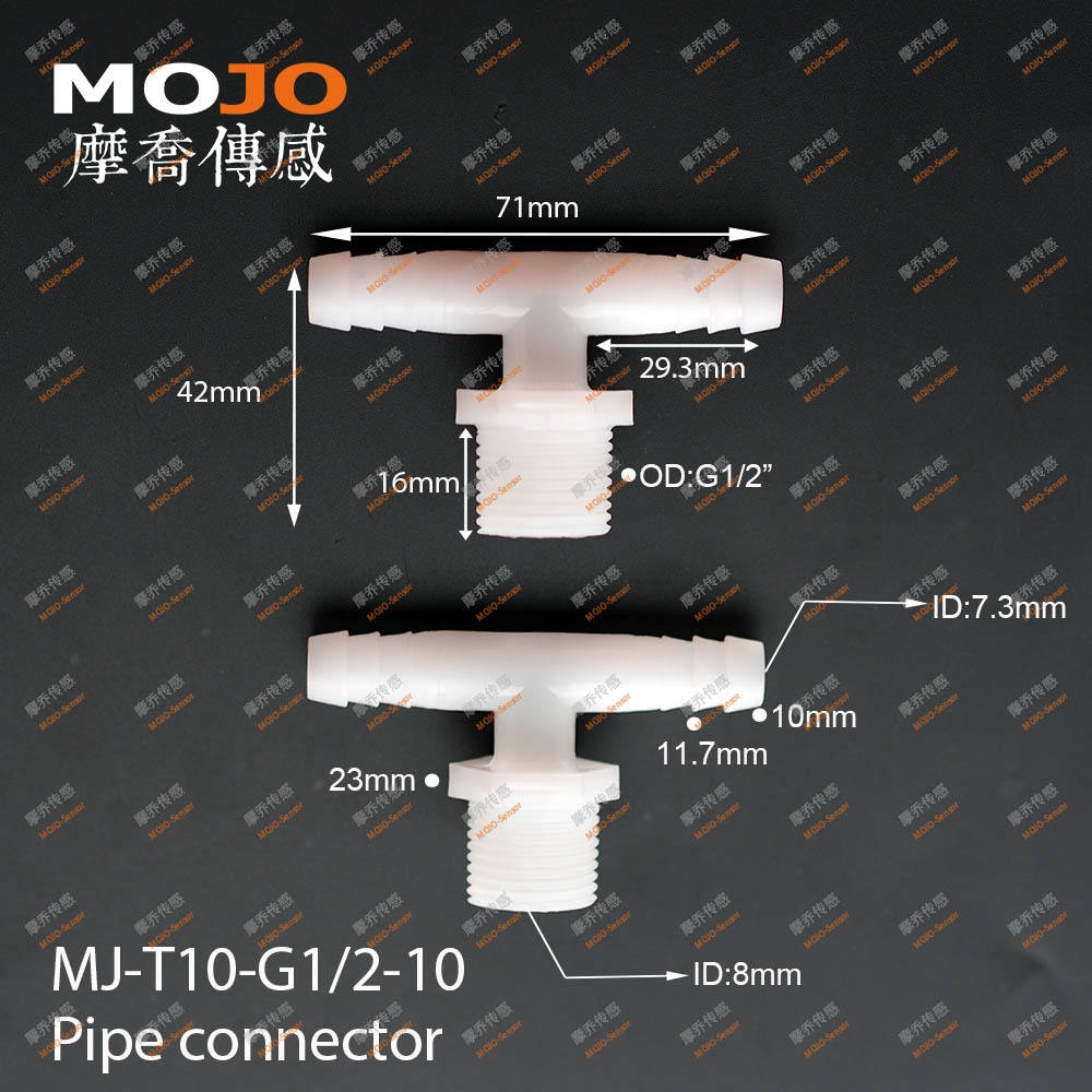 MJ-T10-G1/2-10 Tee type G1/2 External thread to two way ID 10mm barbed water coupling