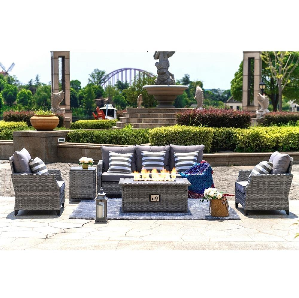 2019 Aluminum Outdoor Rattan Gas Fire Sofa Set Garden Furniture
