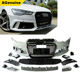 2016+ PP plastic RS6 facelift car front bumper with grills rear bumper lip conversion body kit for Audi A6 S6 C7 PA