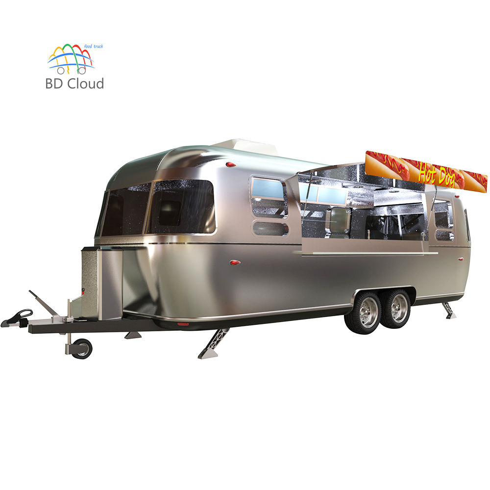Airstream look hot sale hamburger mobile food cart,airstream caravan food truck,airstream food trailer