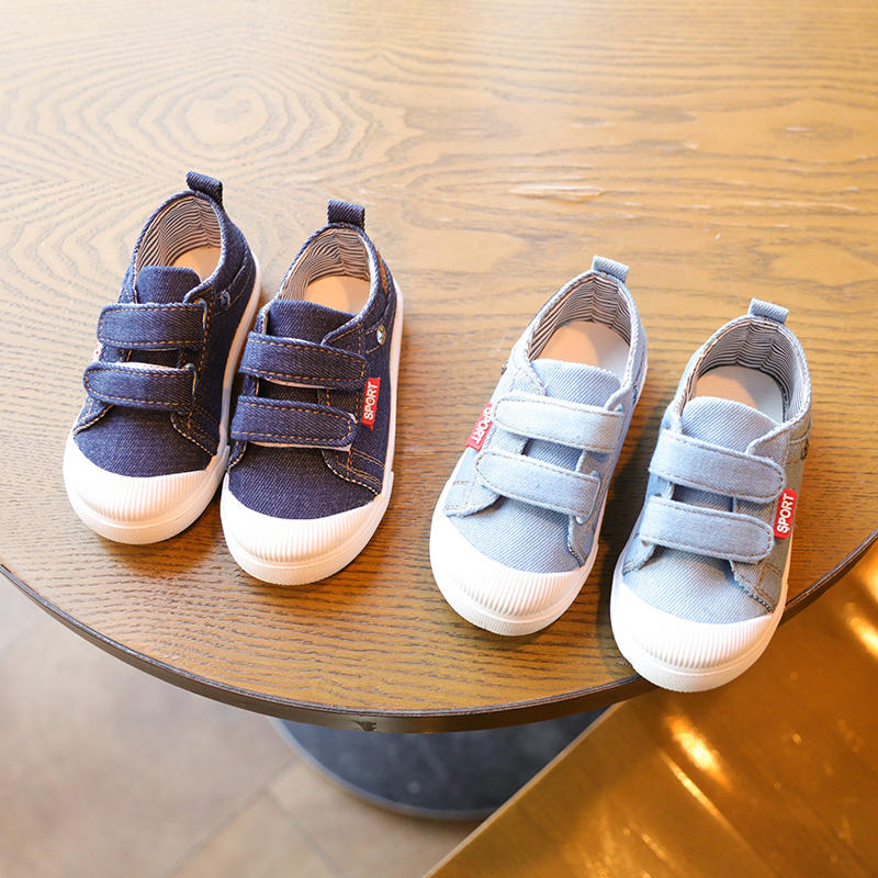 Latest design canvas stylish cowboy soft sole baby flat casual shoes