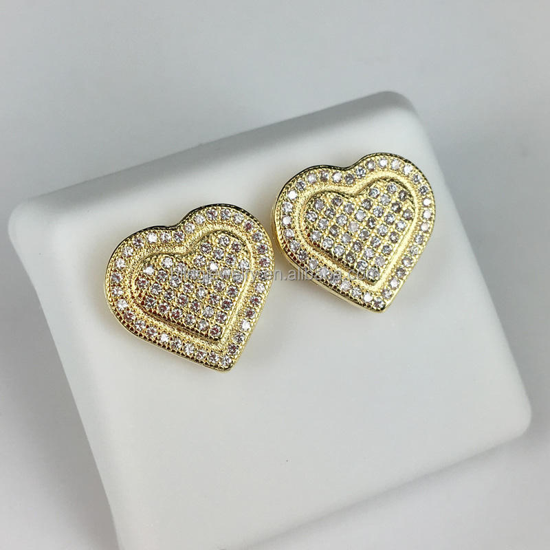 wholesale 925 silver micro pave cubic zircon heart-shaped earrings