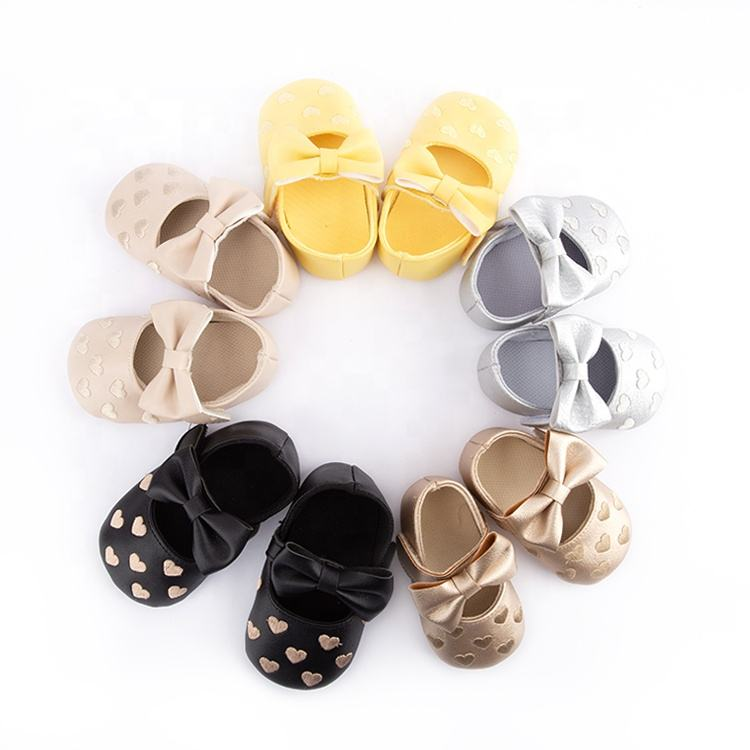 Bowknot Toddler Leather Soft Sole walking shoes baby girl Crib Shoes