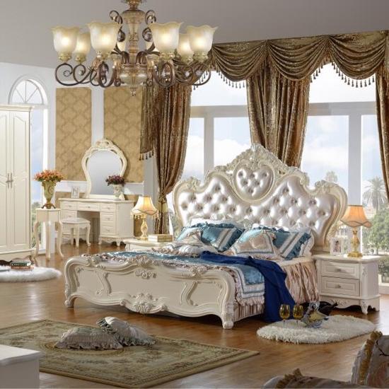 Français de luxe beauté vintage lits en bois antique vanité d'or lit meubles ensemble de <span class=keywords><strong>chambre</strong></span>