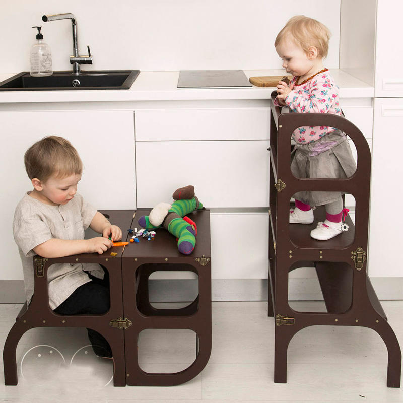 Kitchen Helper bamboo Wood Foldable toddler kitchen step stool Tower for Little Chef