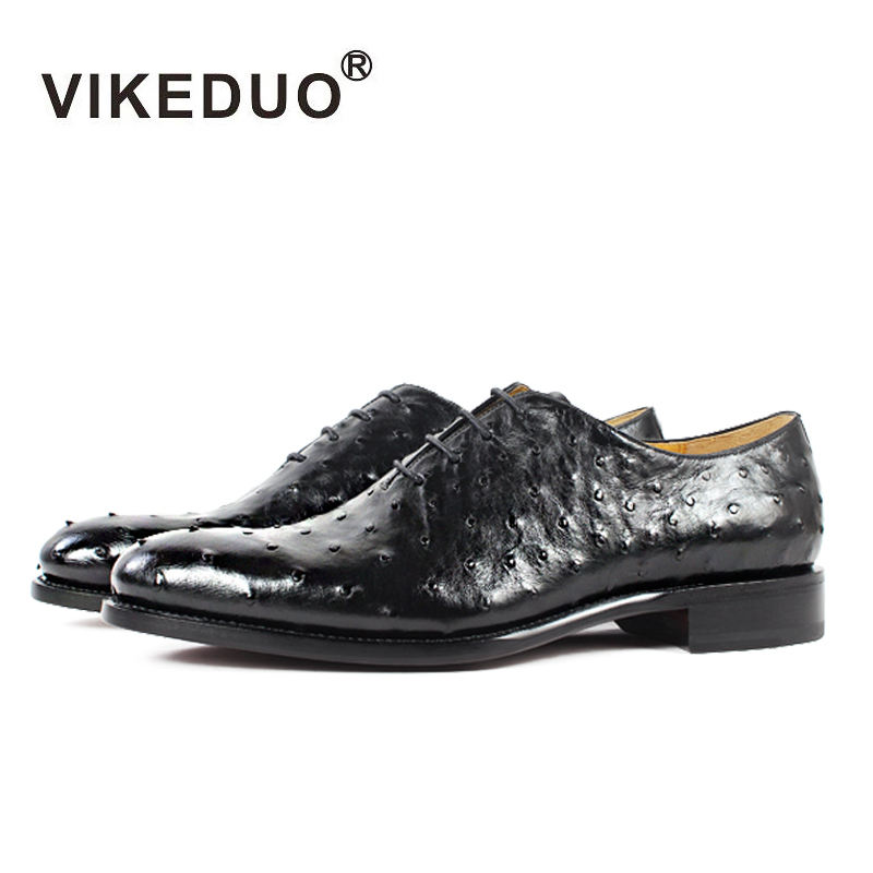 Vikeduo Designer Formal Oxfords Man Black Italian Natural Ostrich Leather Dress Shoes For Mens Fashion Show