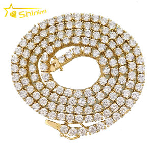 hiphop bling 5mm stainless steel necklace fake diamond tennis bracelet
