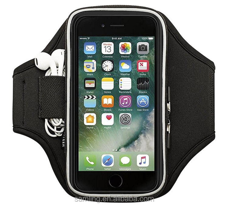 AliBaba en español unisex velcro brazalete deportivo estiramiento caja del brazalete negro para iPhone iPod nano 6