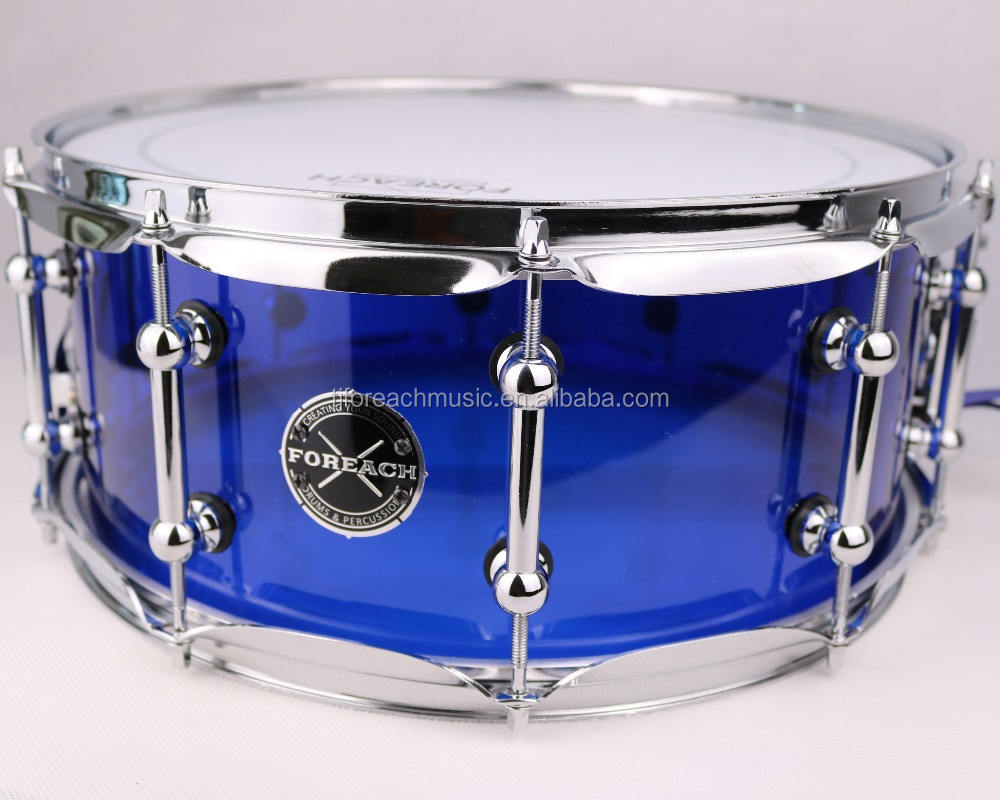 "Seamless Blue Acrylic Snare Drum 14""X6"""
