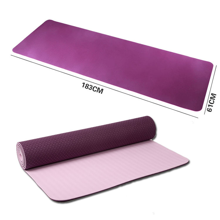Amazon Hot selling Non Slip Fitness Mat Extra Thick High Density Double Color TPE Exercise Yoga Mat