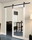 White mirrored barn door for hotel with sliding door hardware