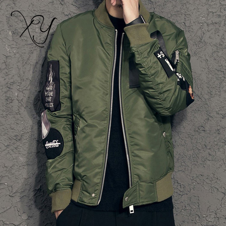 Latest Design High Quality Flight Satin Nylon army green Bomber Jacket Men
