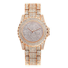 8421 Fashion Design Full Rhinestone Gold Plated Lady Dress Watches Rose Gold Watch