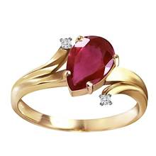 Plating 14k Solid Gold Ring with CZ Diamonds and  Pear-shaped Ruby