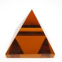 Wholesale Orange Quartz Crystal Glass Pyramid Shaped Paperweight For Souvenir Gifts Pyramids