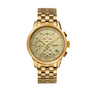 Quartz gold stainless steel alloy case custom make watches