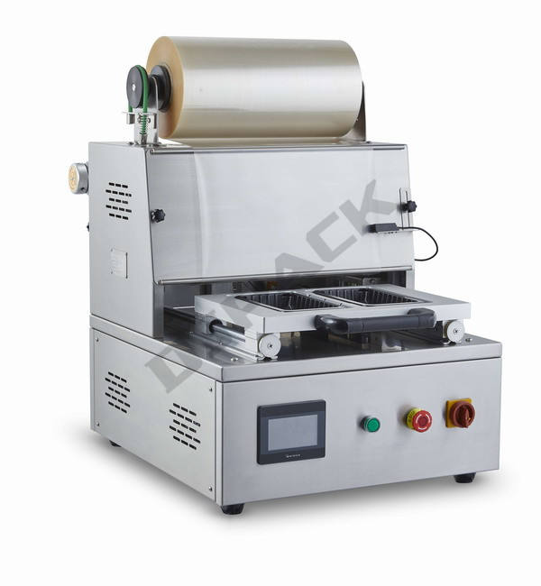 DQ400T-E Sandwich Pasta Tray Sealer Met Gas Spoelen Gas Zuivering KAART Food Lade Sluitmachine