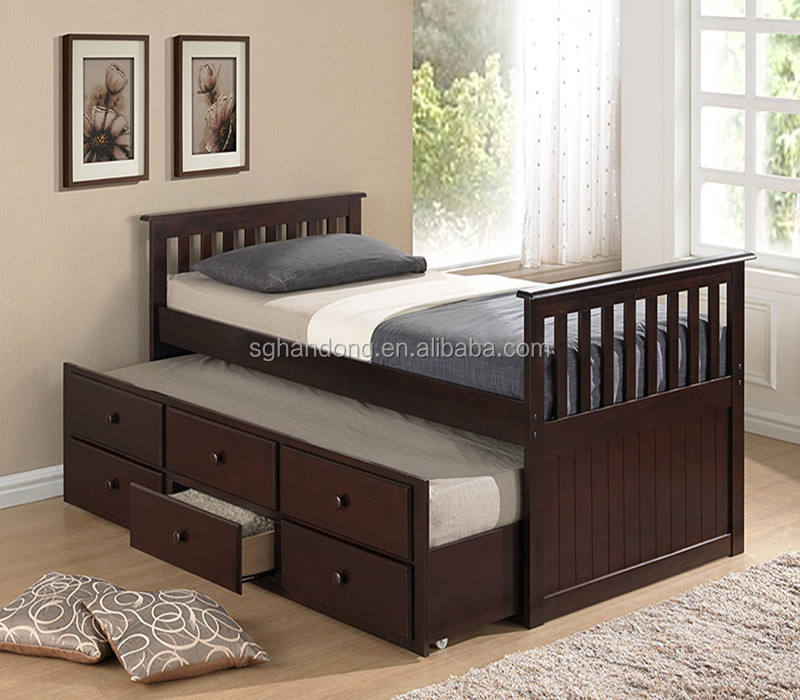 Wood Bed with Trundle Bed or pullout bed and Drawers Espresso color