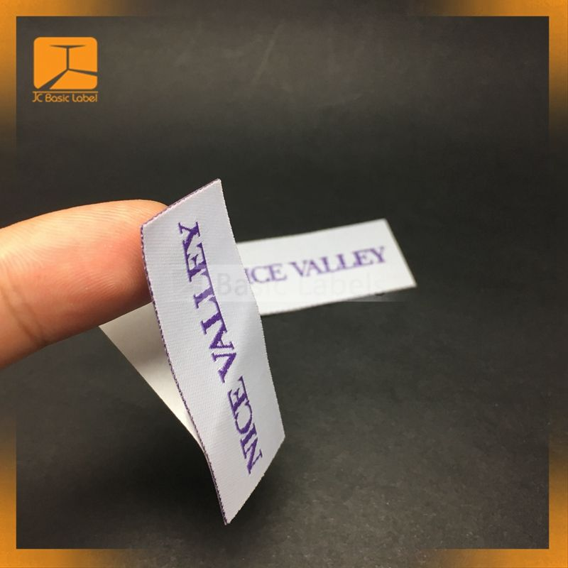 Custom self adhesive woven damask clothing labels for fabric