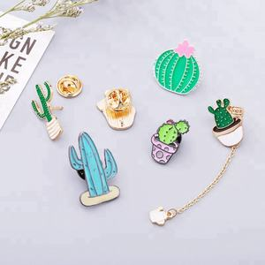 manufacturer customized metal brooch cactus shaped lapel brooch pins