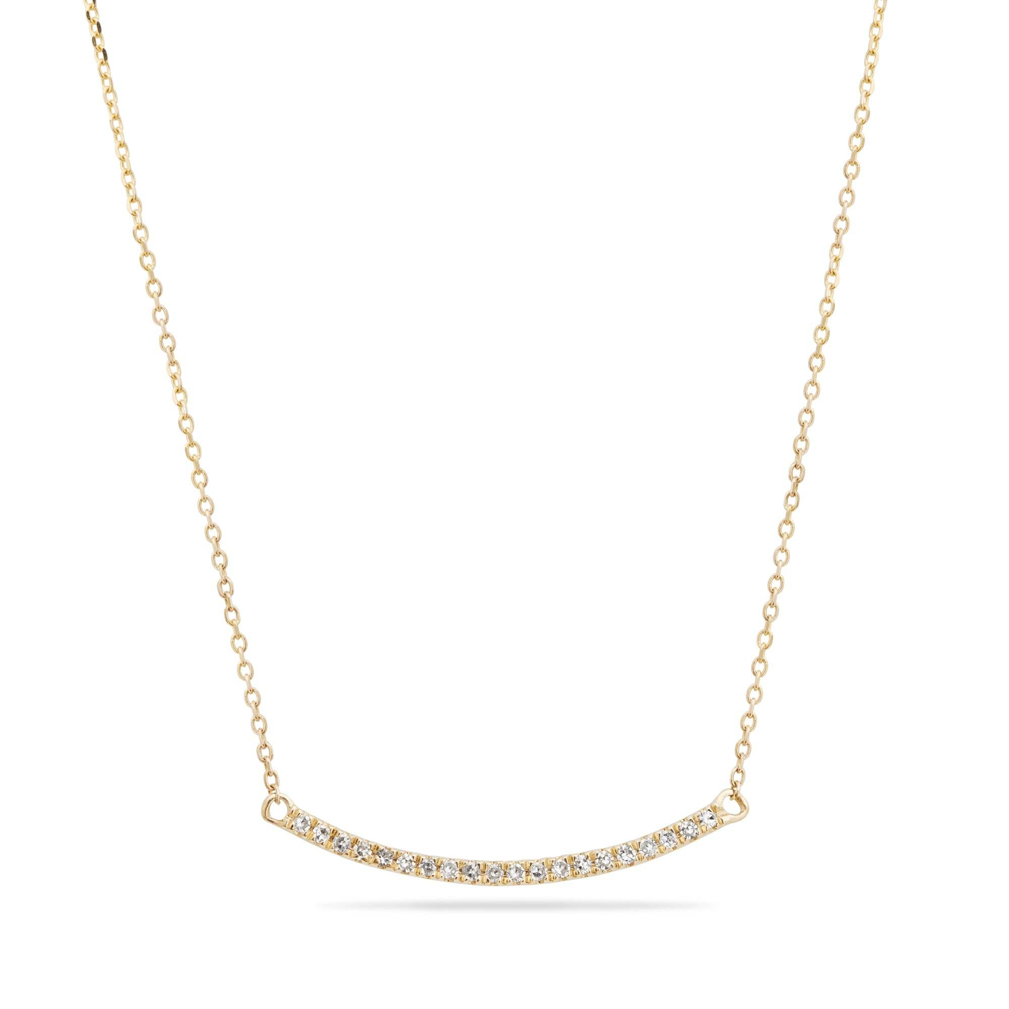 Simple and delicate Young Girls Sisters Women Gold CZ Zircon Pave Diamond Curve Bar Necklace