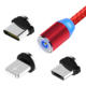 3 in 1 magnetic micro usb 2.4A fast charging nylon braided cable logo customized 100cm 3in1 usb c type-c cable for iphone 7