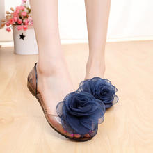 Ins summer shoes open toe flat jelly sandals with flowers for women