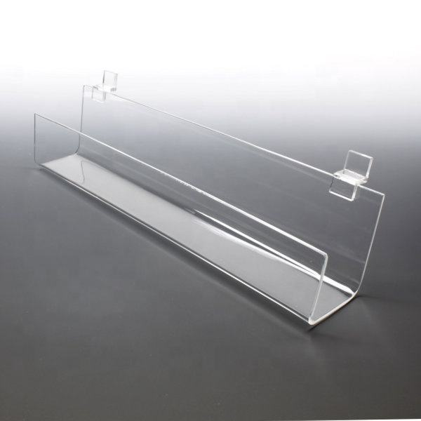 Clear Acrylic J Shelf For Slat Walls Acrylic Slatwall Shelf with Front Lip