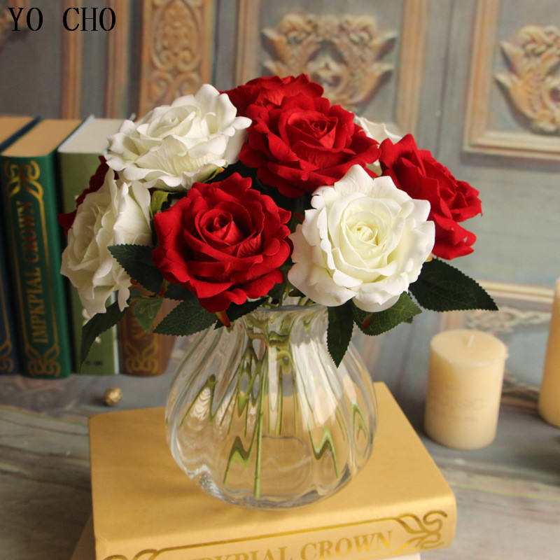 Cheap preserved rosecandy rose bouquetartificial velvet rose flower wedding decoration flowers simulation plants